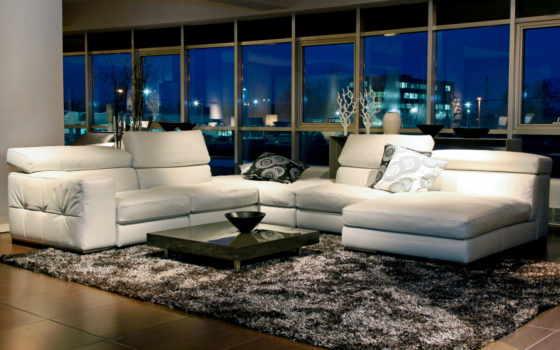 гостиной, стиле, современном