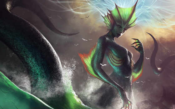 monster, art, море, tail, waves, брызги, девушка, шкала, лестница, дракон,
