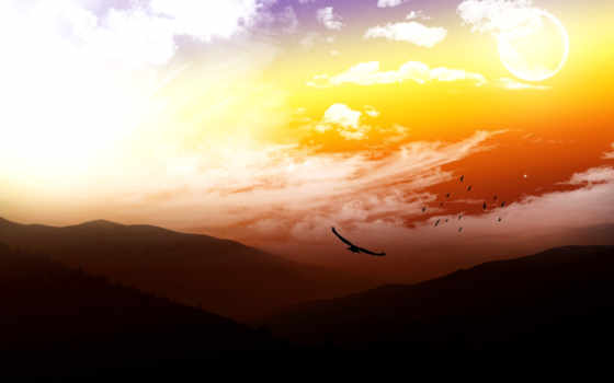 птицы, горы, небо, landscape, шикарнейший, пупер, качество, закат, супер, взгляд,