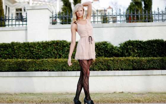 blonde, платье, стиль, birkeland, berit, забор, девушка, качественные,