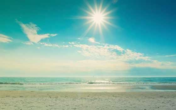 summer, море, природа, landscape, песок, water, пляж, волна, небо, sun,