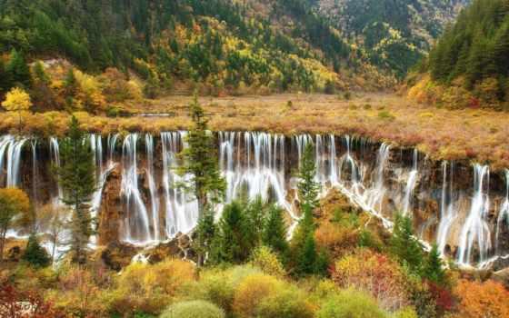 cascadas, coloridas, del, naturaleza, cascada, rboles, hermosa, посмотрите, vista,