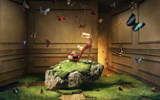 реклама, louboutin, christian, босоножки, туфелек, khuong, nguyen, креативная, сияние, обуви,