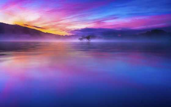 небо, красивых, озеро