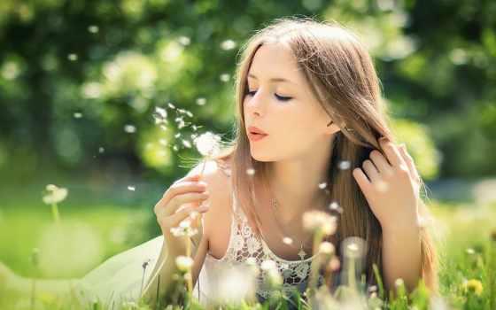девушка, fone, природа, sweetheart, devushki, природы, одуванчика, сдувает, пушинки, красивые,