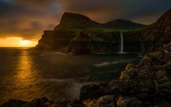 islands, faroe, водопад, mulafossur, закат, фото, gasadalur, stock, деревня,