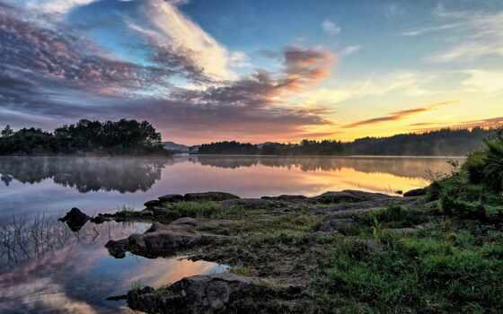озеро, спокойствие, норвегия, безмолвие, утро, smartphone, планшетный, природа, отражение, тематика