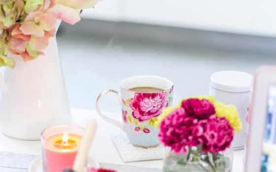 завтрак, cup, цветы