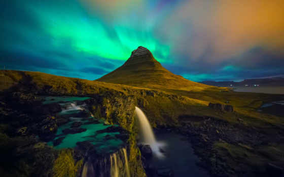 iceland, kirkjufell, водопад