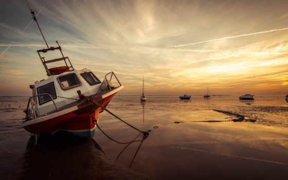 лодки, закат, море