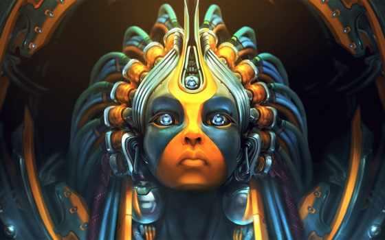 art, девушка, robot, взгляд, fantasy, cyborg, sci,