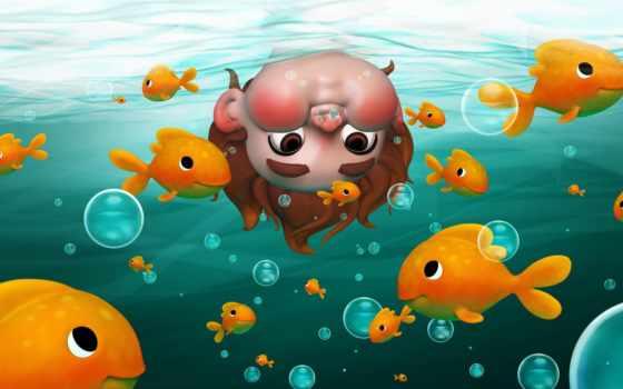 boy, underwater, illustration, fish, shana, little, bubble, ребенок, vandercruysse