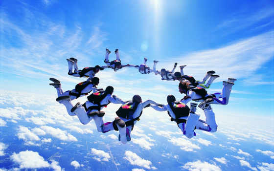 парашютом, прыжки