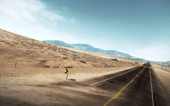 дорога, пустыня, трасса