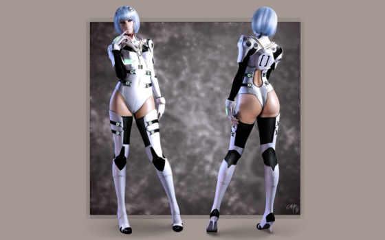 ray, evangelion, девушка, android,