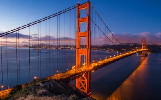 золотистый, gate, мост, sana, francisco, золотые, сша,