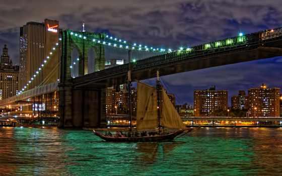 бруклин, мост, восток, река,