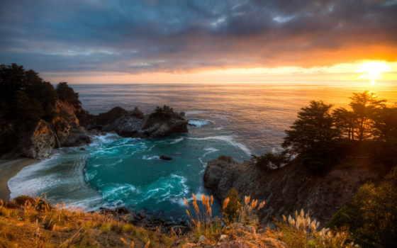 mcway, закат, falls, california, водопад, landscape,