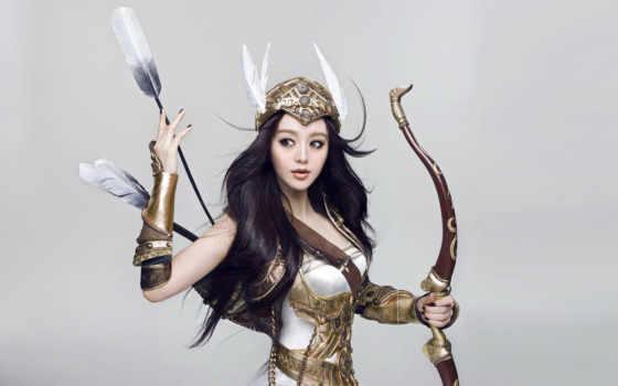 лук, мне, archer, art, стрелок, девушка, лес