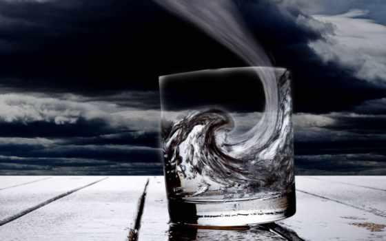 стакане, буря, обои, stars, воды, графика, фото, з