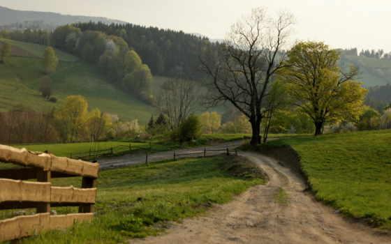 дорога, забор, landscape
