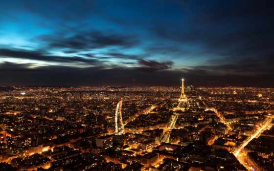 париж, ночь, панорама