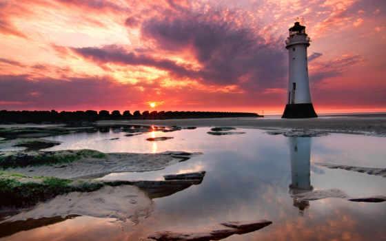 hotel, красивые, lighthouse, страница, нов, маяк, закат,