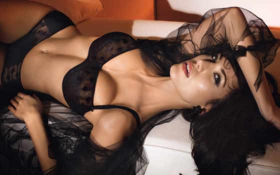 conturelle, felina, грудь, белье, лежит, чёрное,