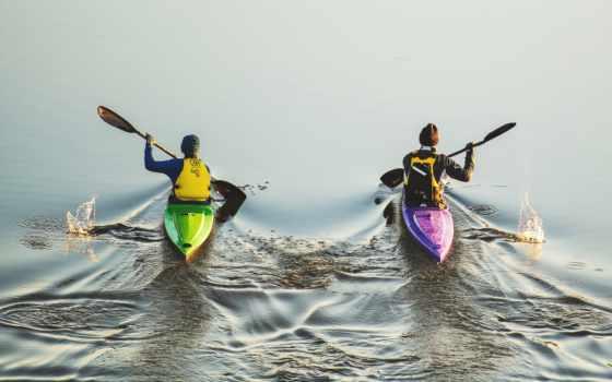 гребля, спорт, water, спортсмены, miniature, рисунок, байдарках, canoe,