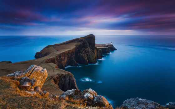 isle, skye, neist, шотландия, point, lighthouse, hebrides, ночь, inner, scoția,
