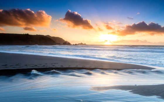 утро, ocean, песок, пляж, код, берег, www,
