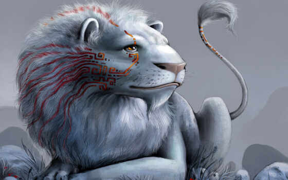 fantasy, animal, львы, art, lion, white