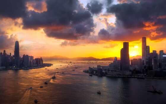 hong, kong, закат, небоскрёб, тема, themebe, chrome, город, ночь, стена, море