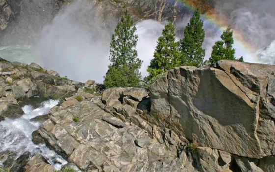 rainbow, cliff