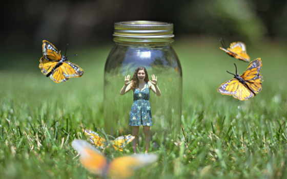 бабочки, devushka, банка