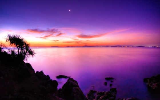лиловые, закаты, закат, великолепные, фоны, после, заката, море, со,