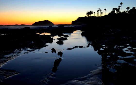 пляж, laguna, закат