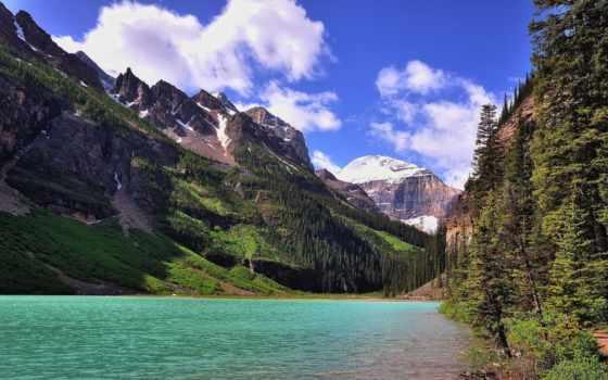 горы, природа, puzzle, online, landscape, озеро, картинка, канадский, парки, трава,
