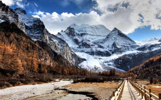горы, красивые, дорога, качество, природа, hdr, toad, китаянка, yading, февр,