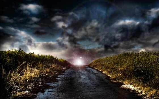 дорога, свет, небо, трава, дороги, фотообои, природа, свечение, стену, вектор,