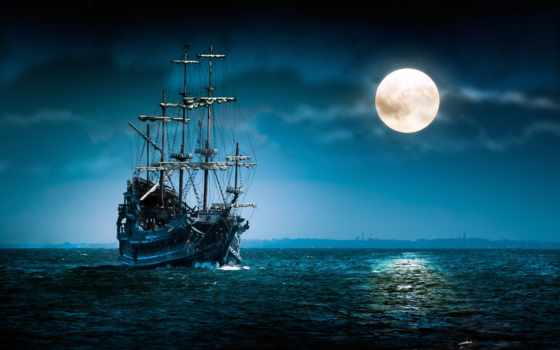 корабль, море, луна