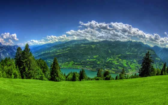 lake, clouds, meadow, nature, mountains, прекрасный, денек, весенний, spruce,
