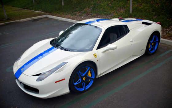 ferrari, blue, white