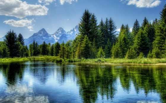 гора, озеро, water, дерево, landscape, votes, природа,