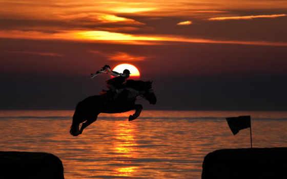 закат, ocean, sun, прыжок, всадник, лошадь,
