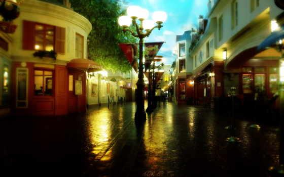 уютный, город, дождь, осень, улица, красивый, после, компьютер, comfort