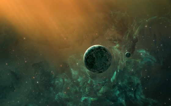planet, nebula, звезды