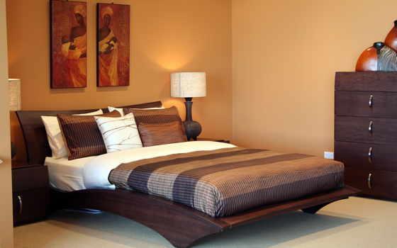 stil, африканский, кровать, спальня, картины,