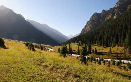 природа, киргизия, горы, река, лес,