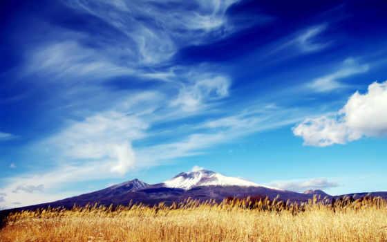небо, ясное, со, oblaka, горами, весенними, поле, голубое, гора,